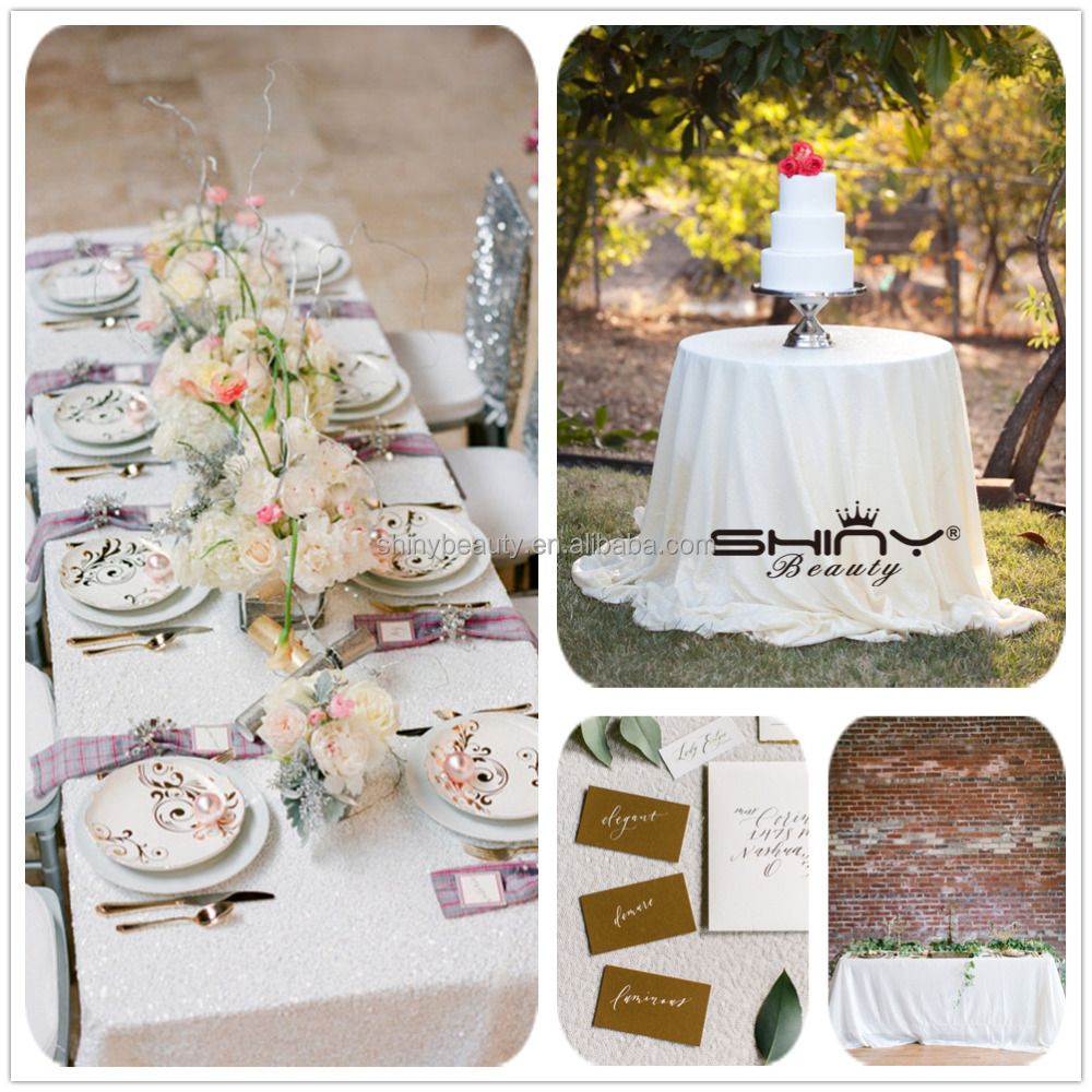 White Sequin Tablecloth,Customed Fancy Metallic Sequin Table Cloth/Linen/Overlay For Wedding/Party/Event