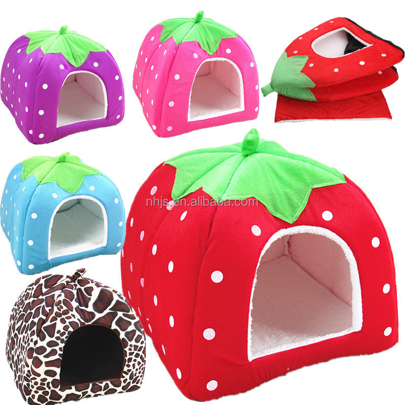 Strawberry Cotton Soft Small Dog Cat Pet Bed House S/M/L/XL/XXL