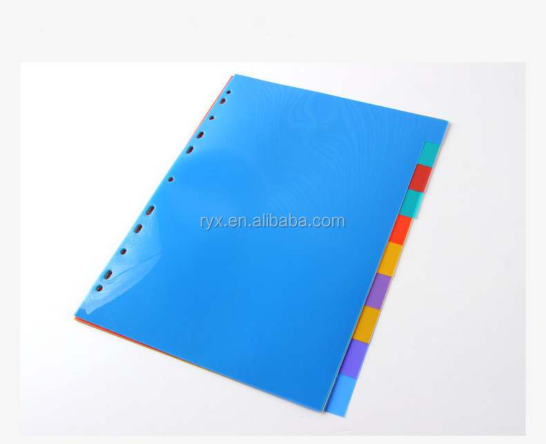 eco-friendly pp plastic loose-leaf 1-10 colored index divider a4 folder