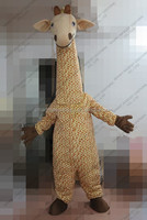 100% in kind shooting of long neck giraffe mascot costume for unisex adult soft plush giraffe mascot costume