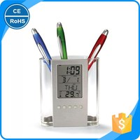 NEW Digital Desk Pen/Pencil Holder LCD Alarm Clock Thermometer&Calendar Display hot selling