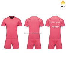 sublimated custom pink color soccer team uniforms,Breathable active wear,dry fit football jersey
