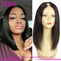 Factory Supply 6A Grade Short Human Hair U Part Wigs Indian Remy Hair U Part Wig