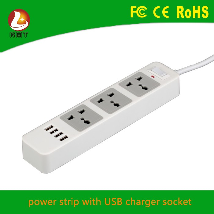 Intelligent electric switched socket desktop USB solar powered power strip