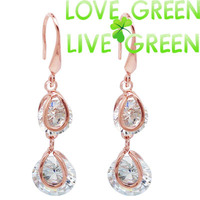 2015 factory salespromotion discount zircon fashion18K rose gold plated Rhinestones water drop earrings jewelry 60894
