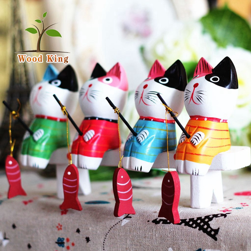 Zakka Groceries Nordic Log Animal Creative Gifts Mini Fishing Cat Kids Room Vintage Retro Home Wooden Decoration Pieces