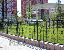 Ornamental outdoor wrought iron fence for commercial purpose
