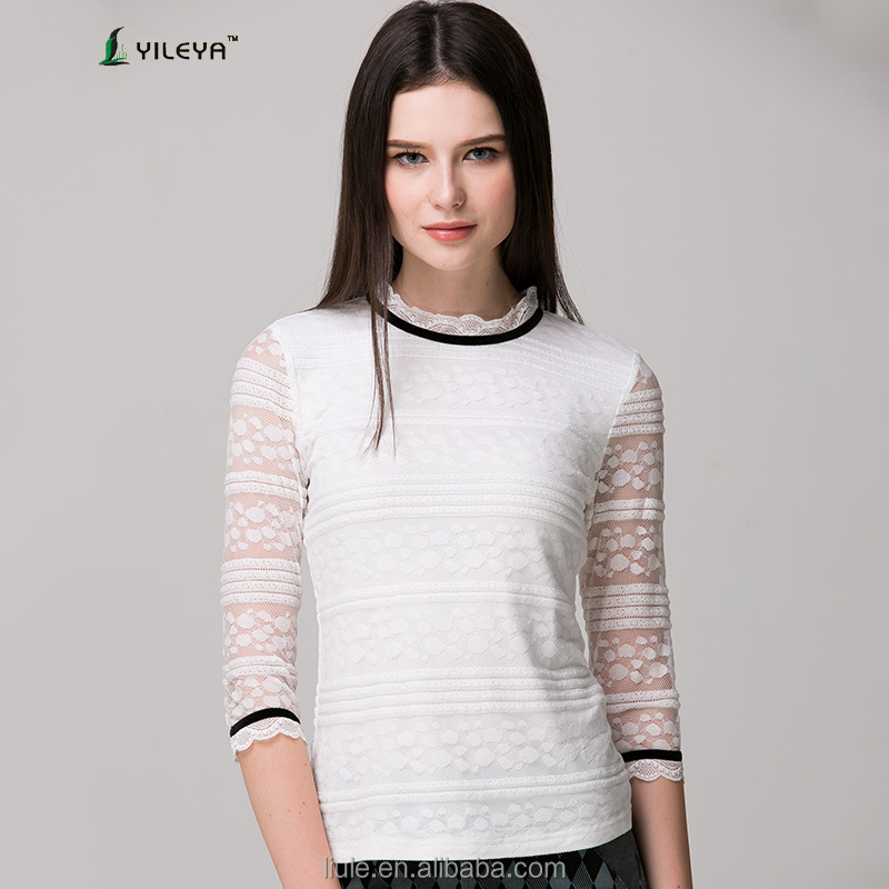 white three quarter sleeve shirt elegant blouses with lace patchwork