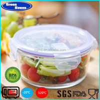 Heat-resistant Round Shape Pyrex Glass Food Container Microwave & Oven Safe Use