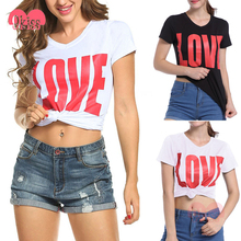 Letter Print Love Slim White Blouse Women Images of Ladies Casual Tops