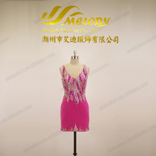 Pink beaded cocktail knee-length dress deep V-neck dance dress hot sale sexy dress photo