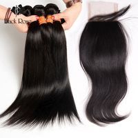 Unprocessed Virgin Brazilian Straight Hair Bundles with Lace Closure Free Part Brazilian Virgin Hair Straight Cheap Hair Closure