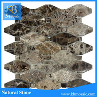 Kitchen Backsplash Wall Decoration Light and Dark Emperador Basketweave Mosaic Tile