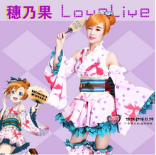 High Quality LOVE LIVE Costume Kousaka Honoka Anime cosplay Costume Lolita Kimono Dress Halloween Costumes