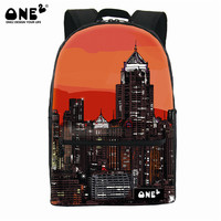 ONE2 Design fashionable polyester architectural style school backpack for children teenager girls