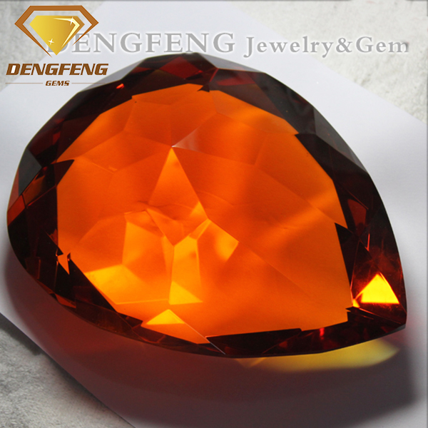 Pear Cut Big Size Amber Color Crystal