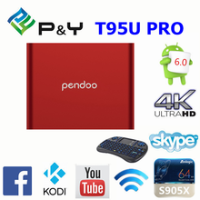 New!2017 High quality Hot sale pendoo T95u pro S912 2G 16G octa core android 6.0 KDPLAYER 16.1 Dual wifi bluetooth 4.0 TV box