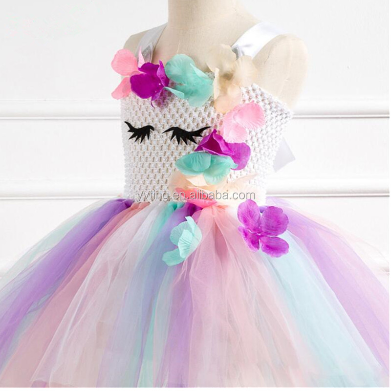 Girl's Party Birthday Princess Unicorn Rainbow Dress