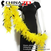 CHINAZP Special 80 Gram Weight in Stock Dyed Yellow with Stipped Rooster Feathers Turkey Chandelle Boas for Wedding Decoration