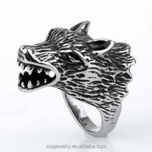 Wholesale Mens Stainless Steel Punk Black Oil Wolf Ring Animal Wrap Ring