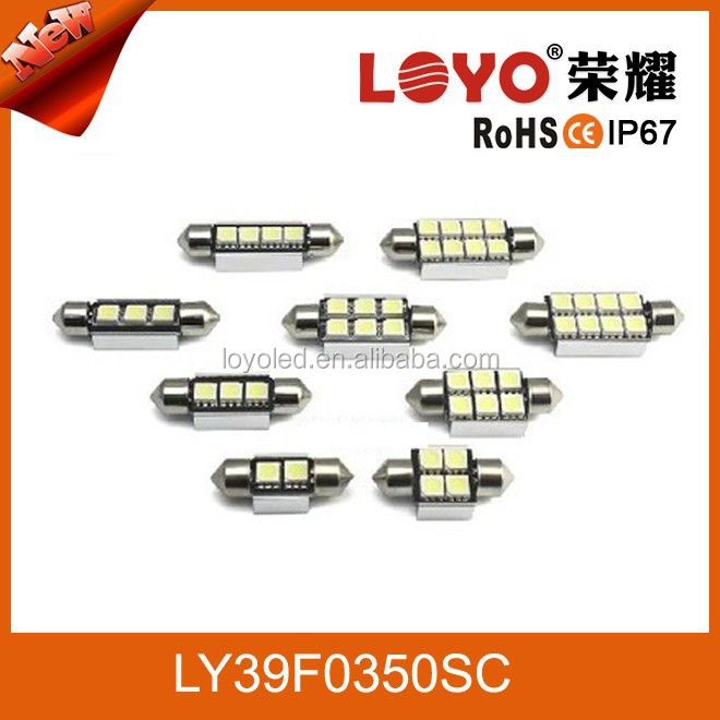 "2x White 6-SMD CA-BUS 1.72"" 36mm 39mm 41mm 42mm Festoon LED Bulbs Interior Map Dome Lights"