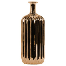 Ceramic Bottle Vase with Corrugated Belly Design Chrome Copper