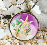 Resin Starfish Necklace Metal Pendant Hot sea crafts