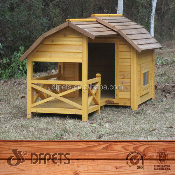 DFpets Easy Assembly Wooden Dog Kennel With Veranda DFD3012