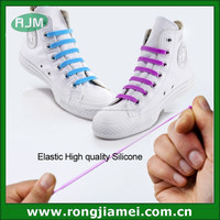 2015 NEW inventive silicone v-tie shoelaces, flat elastic shoe laces manufacturer