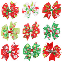 Kids Hair Accessories Red Green Handmade Christmas Gifts Bow Hair Clip for Girls