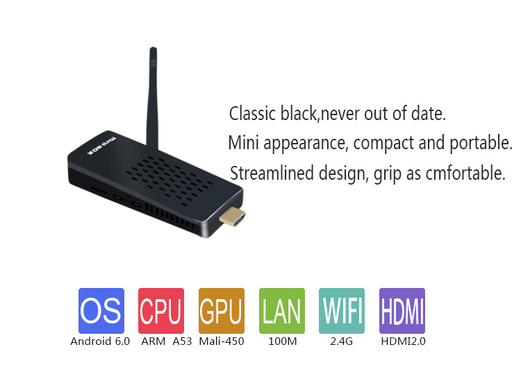 orginal factory support 4k Amlogic S905X Quad-core Android 6.0 with RJ45 tv box tv stick