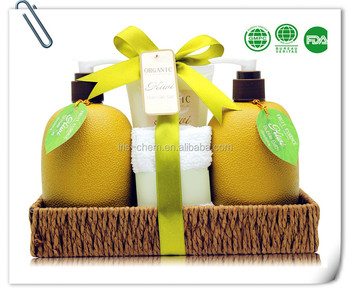 Pure Lightening SPA with Shower Gel/Body Lotion Bubble Bath with Paper Rope Basket