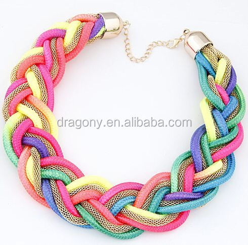 Colorful Handmade Braided statement necklace choker necklace