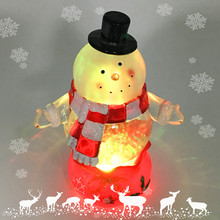 Battery Operated Acrylic Snowman Globe Led Light Ornaments