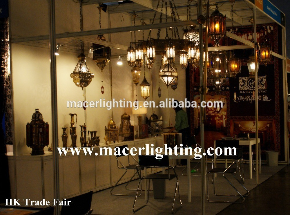 Arabian style brass and resinic pendant lamp antique bronze finish