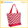Custom 600D Denier Polyester Shoulder Strap Foldable Chevron Tote Bag