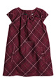 Dark red check design girls cotton dresses with short sleeve