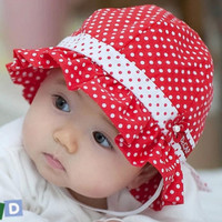Hot sale Cute Baby Summer Hat Infant Girls Sun Hat With Red Polka Dot Wholesale Toddler Accessories KC81207-60