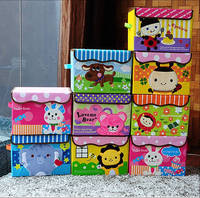 Non-woven foldable cute cartoon kid storage toy bin