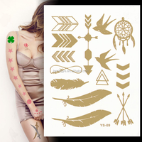 New Fashionable Mixed Gold &Sliver Temporary Metallic Tattoo Sticker