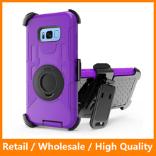 For Samsung s8 Silicone Case 3 in 1 Hybird Dual Layer Robot Case With Kickstand Holder Clip Armor Shockproof Cover for Galaxy s8