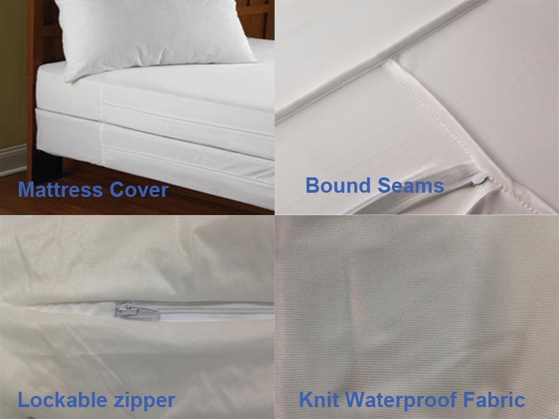 Zippered Plastic Protective Mattress Cover For Hospital