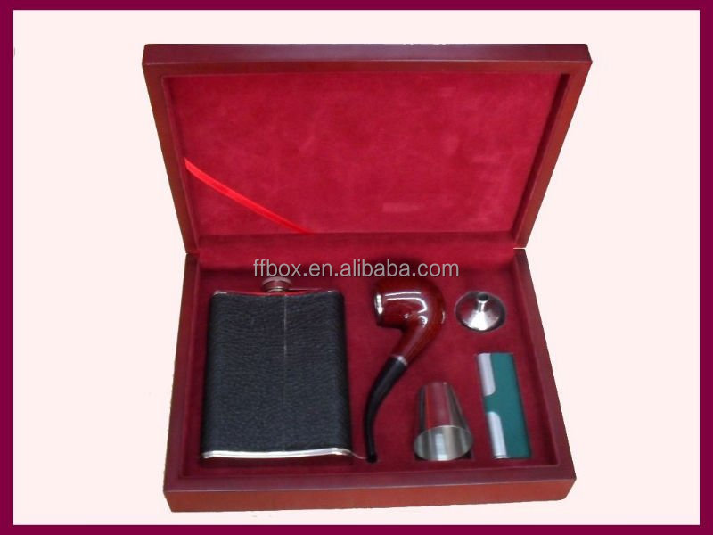 elegant wine flask gift box wooden cigarette box