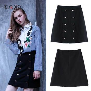 High quality 2017 summer stylish design cotton high waist A- line double-breasted short women half mini skirt