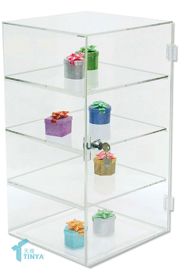 Online Shopping Desktop 4-tier Acrylic Earring Organizer,Locking Jewelry Necklace Display Case,Clear Glass Ring Holder Wholesale