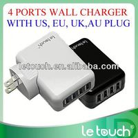 4 USB ports portable ac lead acid battery charger with US UK EU AU plugs