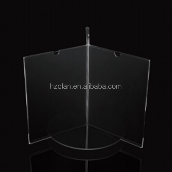 rotated 3 sided tabletop acrylic display stand