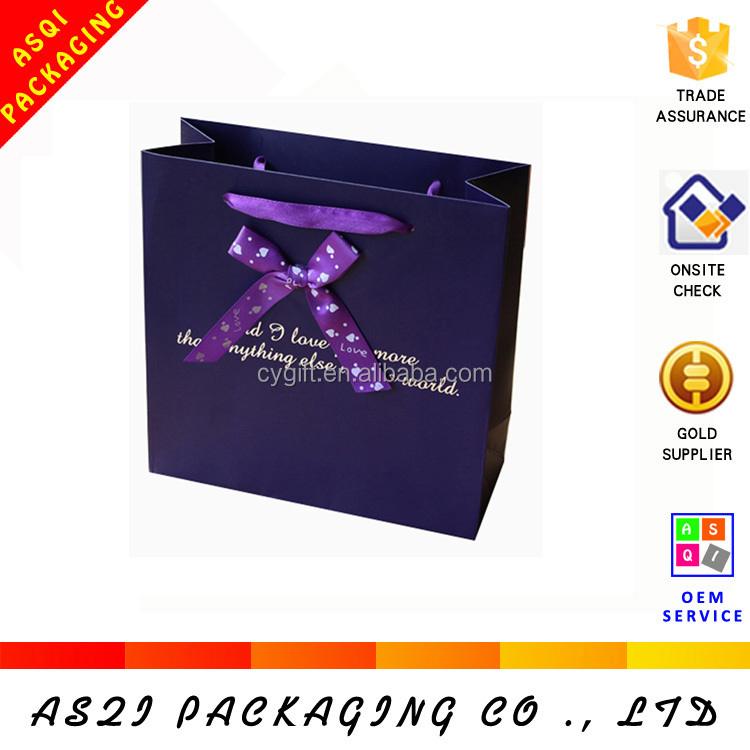 2017 retail custom ribbon tie gift bags with printing