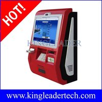 "Fashionable 15"",17"" or 19"" wallmount kiosk with camera,handset,metal keypad,cash acceptor,card reader"