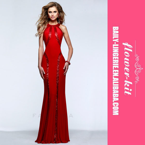 New Arrival Floor-length Evening Dresses Long High Neck Formal Gown